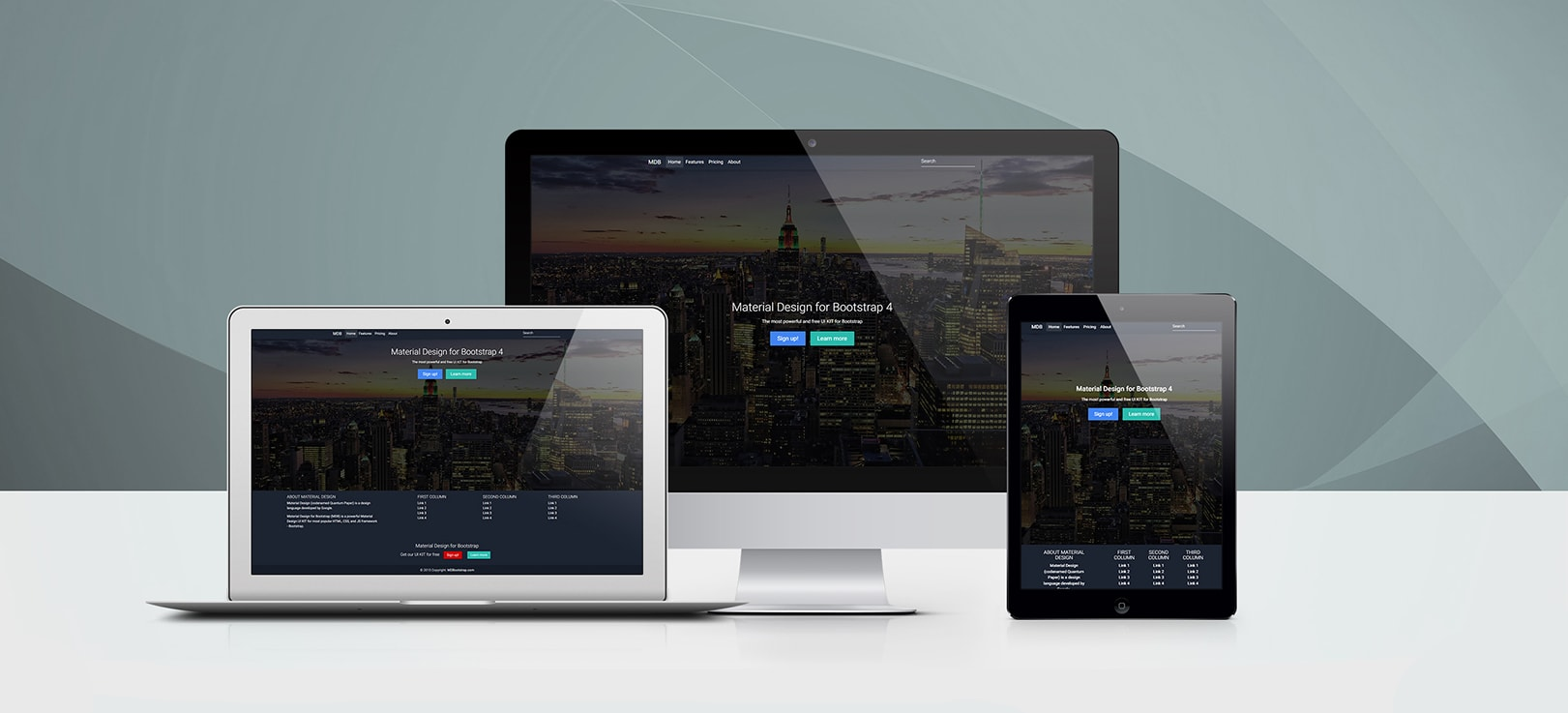 React Background Image - Bootstrap 4 & Material Design