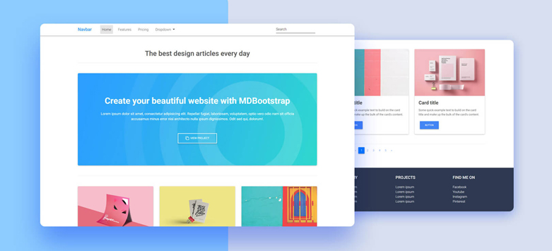 Three Columns Listing - Material Design for Bootstrap