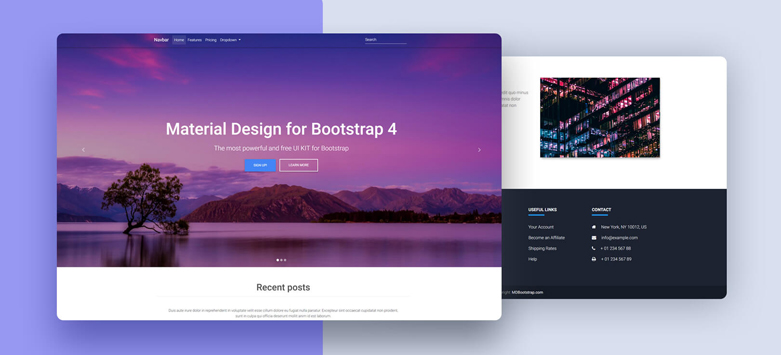 Full Page Image Carousel - Material Design for Bootstrap