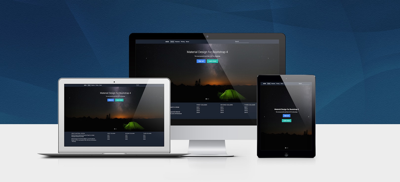 Full Page Image Carousel Template displayed on different devices