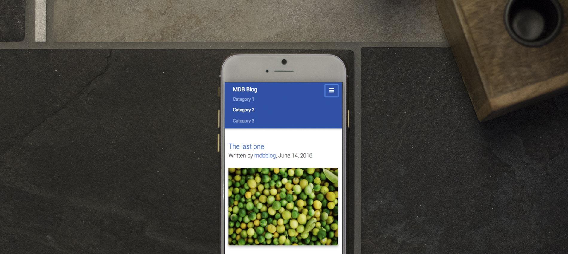 MDB navbar displayed on iPhone
