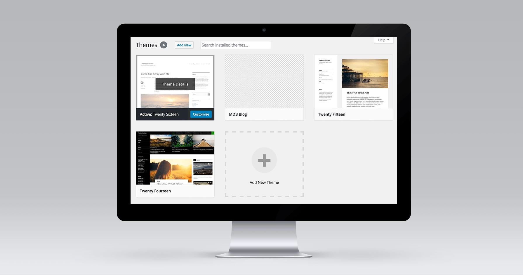 WordPress theme list displayed on desktop