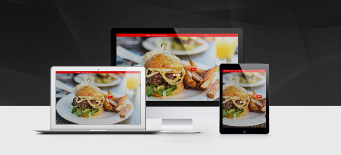 A view on Bootstrap food order homepage displayed on different devices.