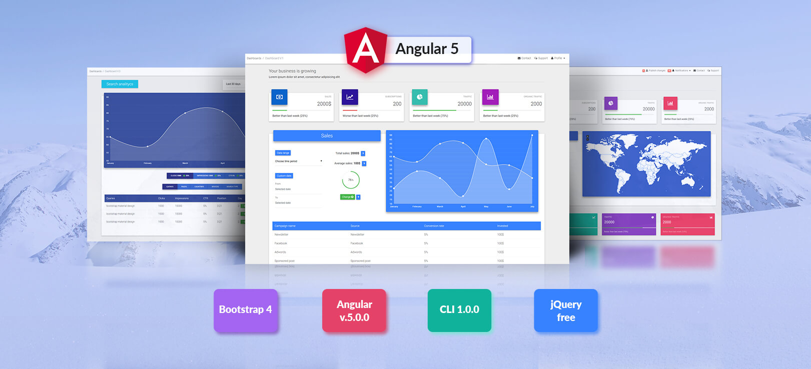 Angular 5 Bootstrap 4 and material design