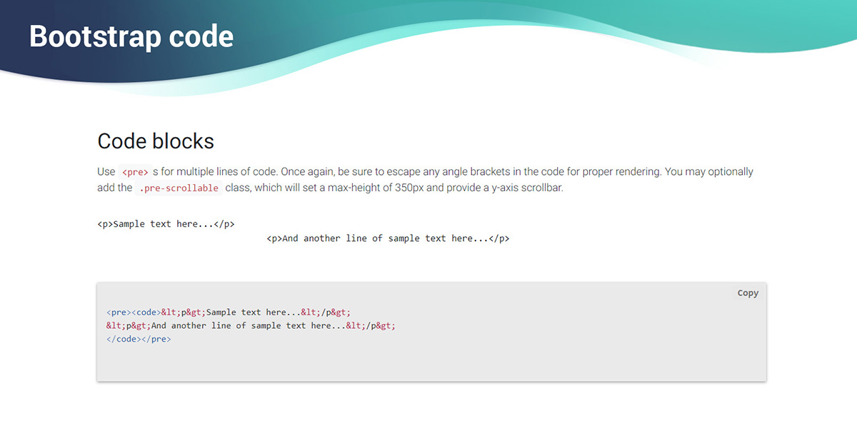 Bootstrap Code - examples & tutorial  Basic & advanced usage