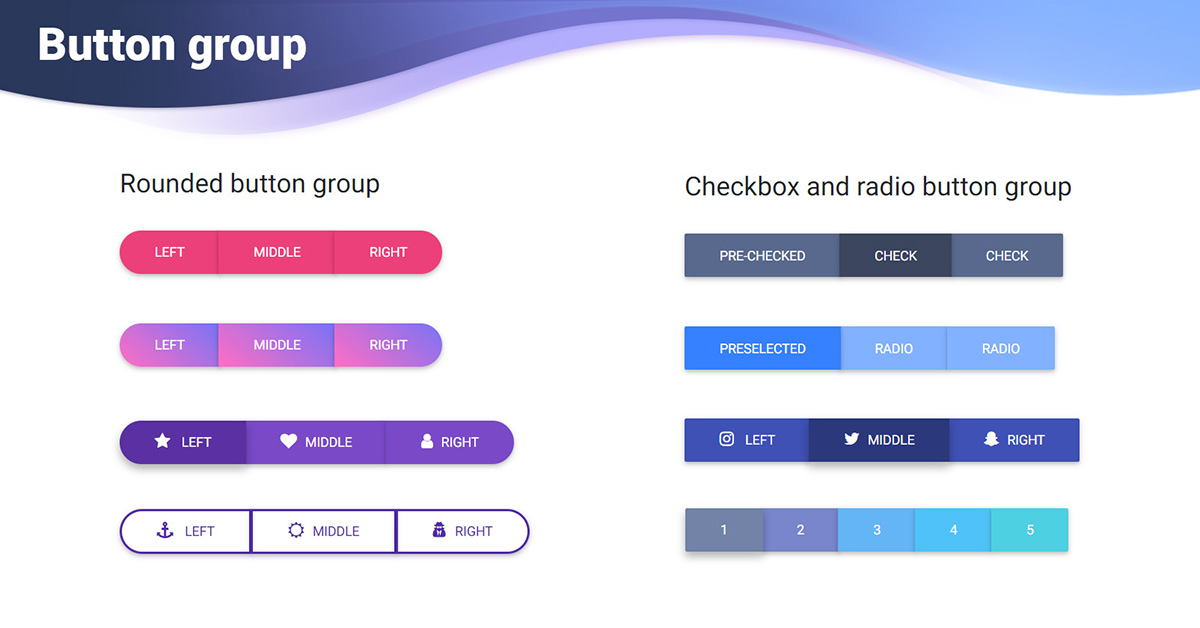 Angular Button Group - Bootstrap 4 & Material Design