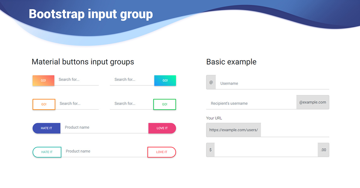 Angular Input Group - Bootstrap 4 & Material Design