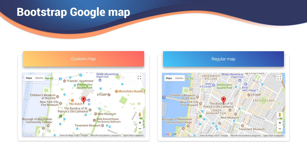 Angular Maps Bootstrap 4 Material Design Examples Tutorial - Find-us-on-google-maps-stickers