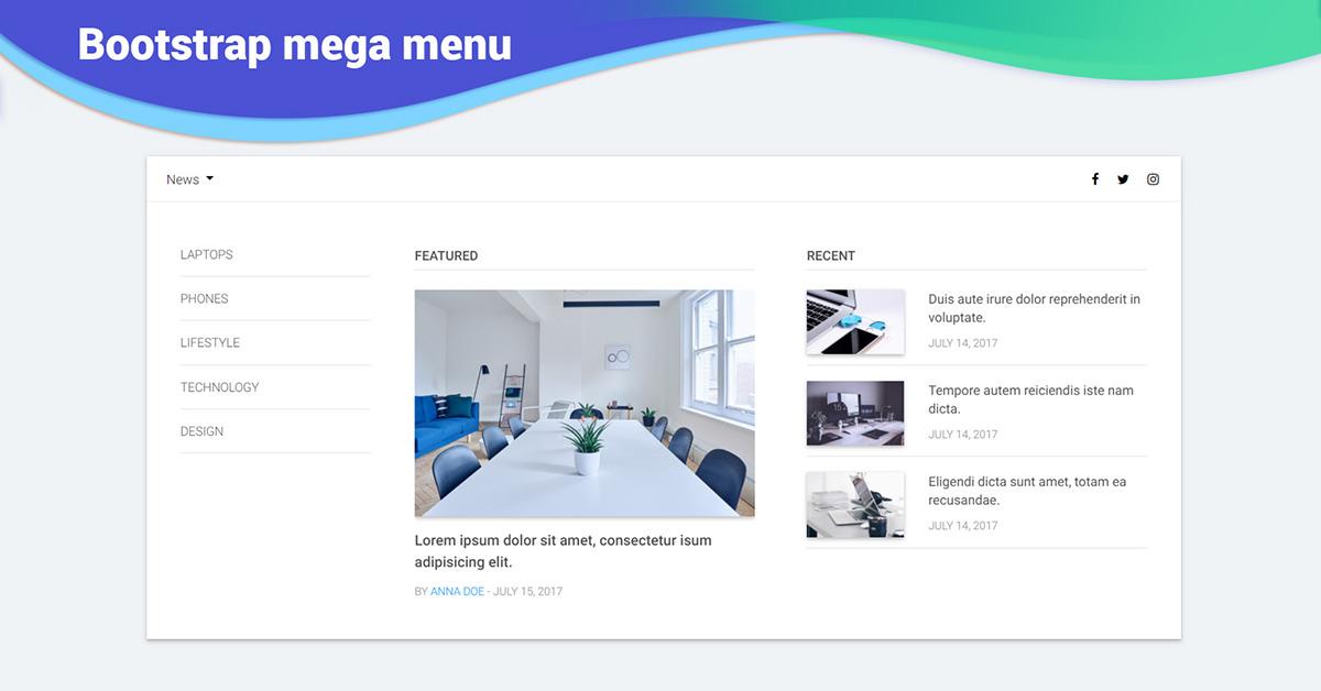 Angular Mega Menu - Bootstrap 4 & Material Design  Examples