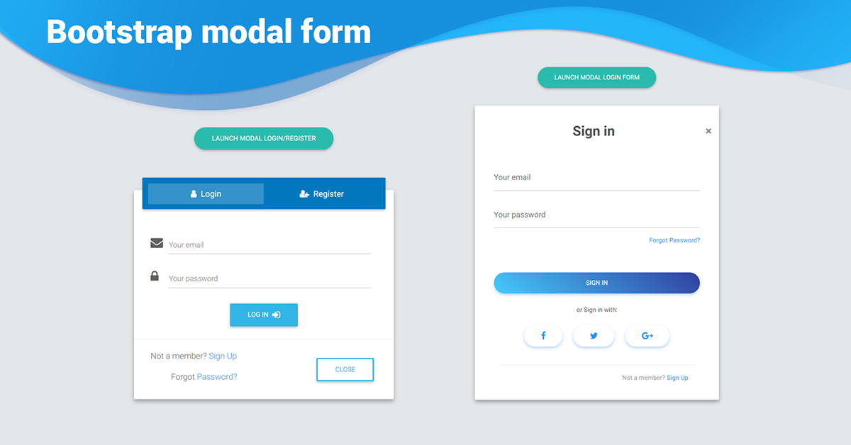 Bootstrap Modal Form - examples & tutorial  Basic & advanced