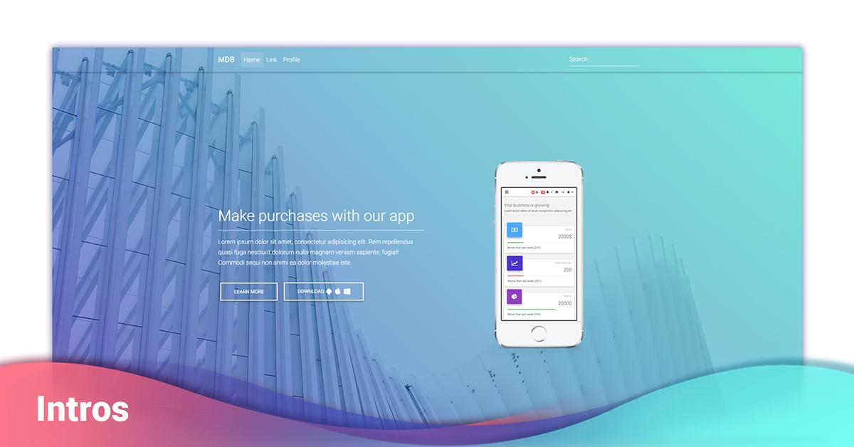 Angular Intros - Bootstrap 4 & Material Design  Examples & tutorials