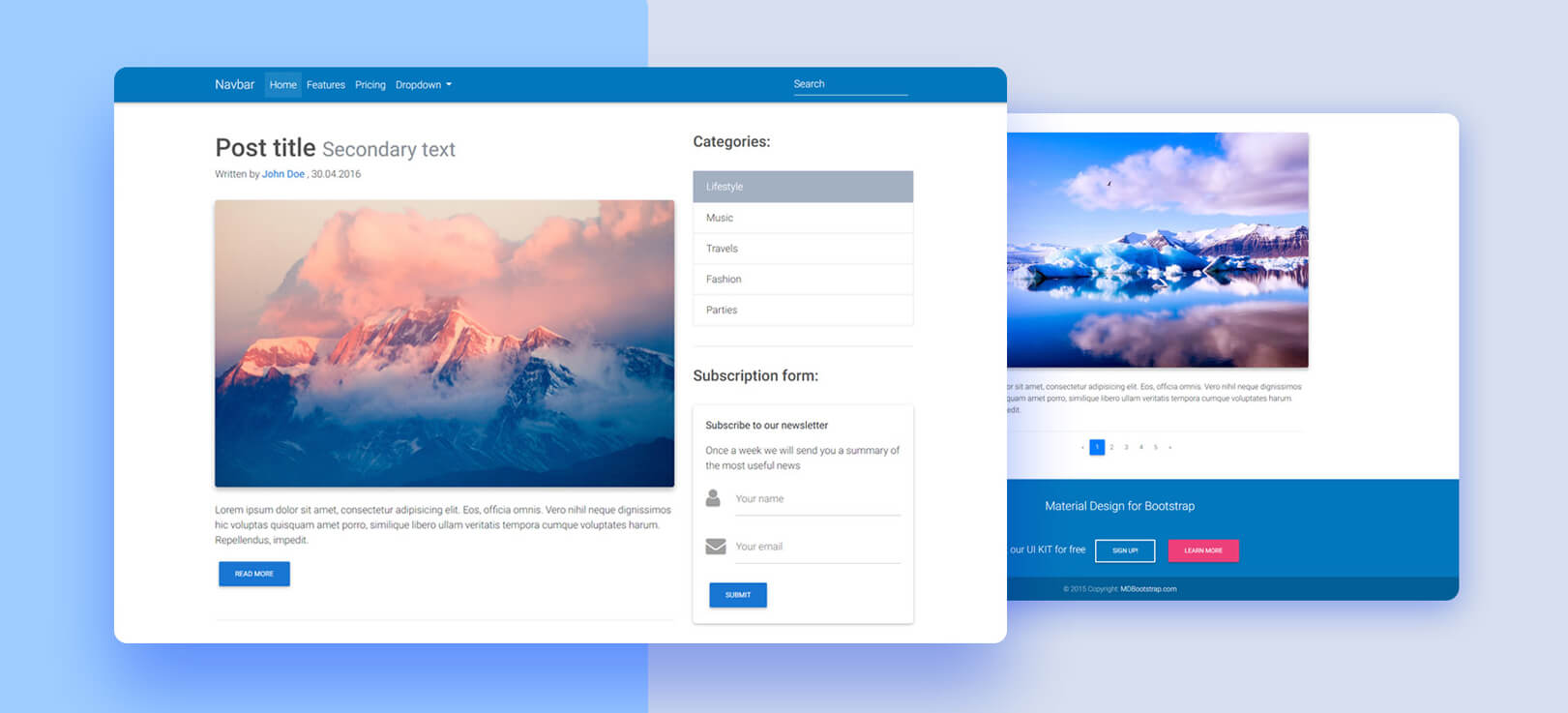 Blog Template - Bootstrap 4 & Material Design