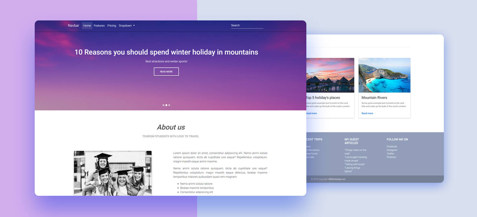 Half Carousel Template - Material Design for Bootstrap