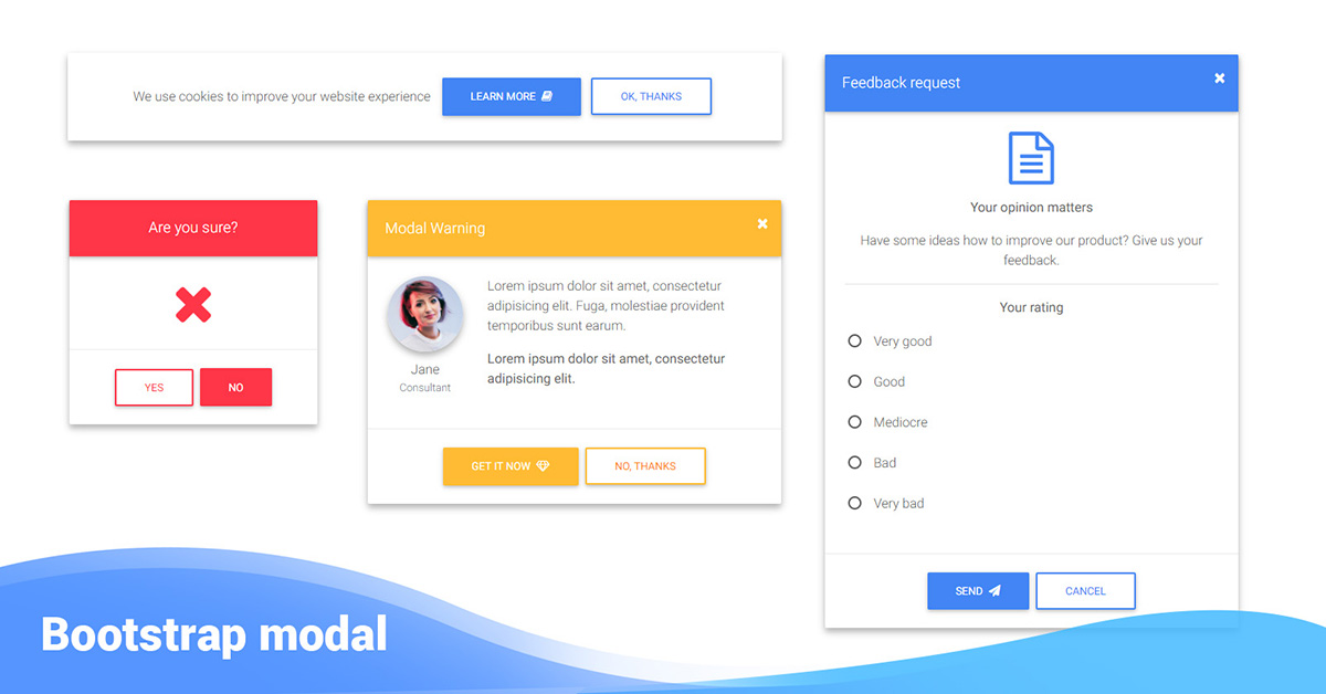 Bootstrap Modal - examples & tutorial  Basic & advanced usage