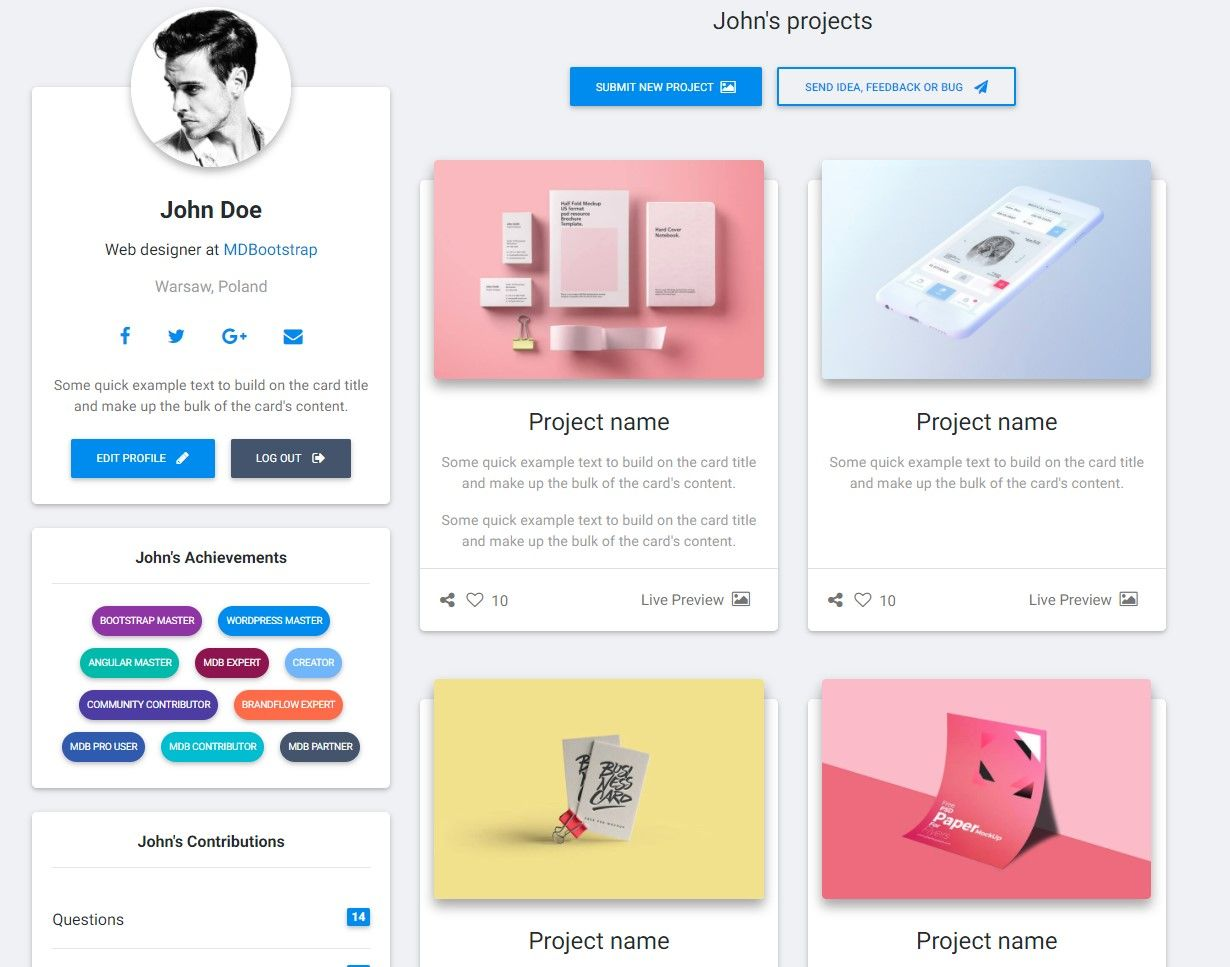Profile - Material Design for Bootstrap