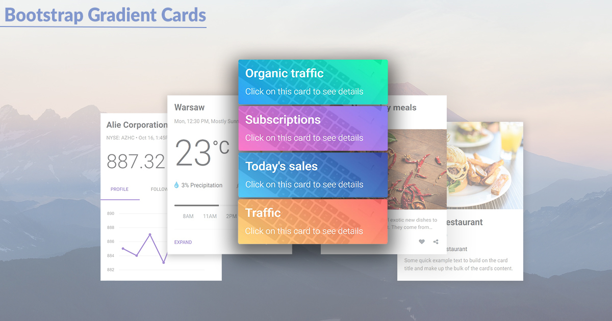 Bootstrap Extended Cards - examples & tutorial  Basic & advanced