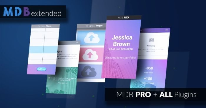 Extended: MDB PRO + All Plugins 50% off (jQuery version)